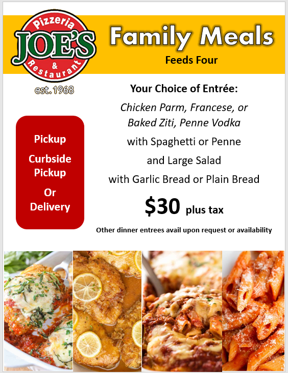 joes pizza family meals